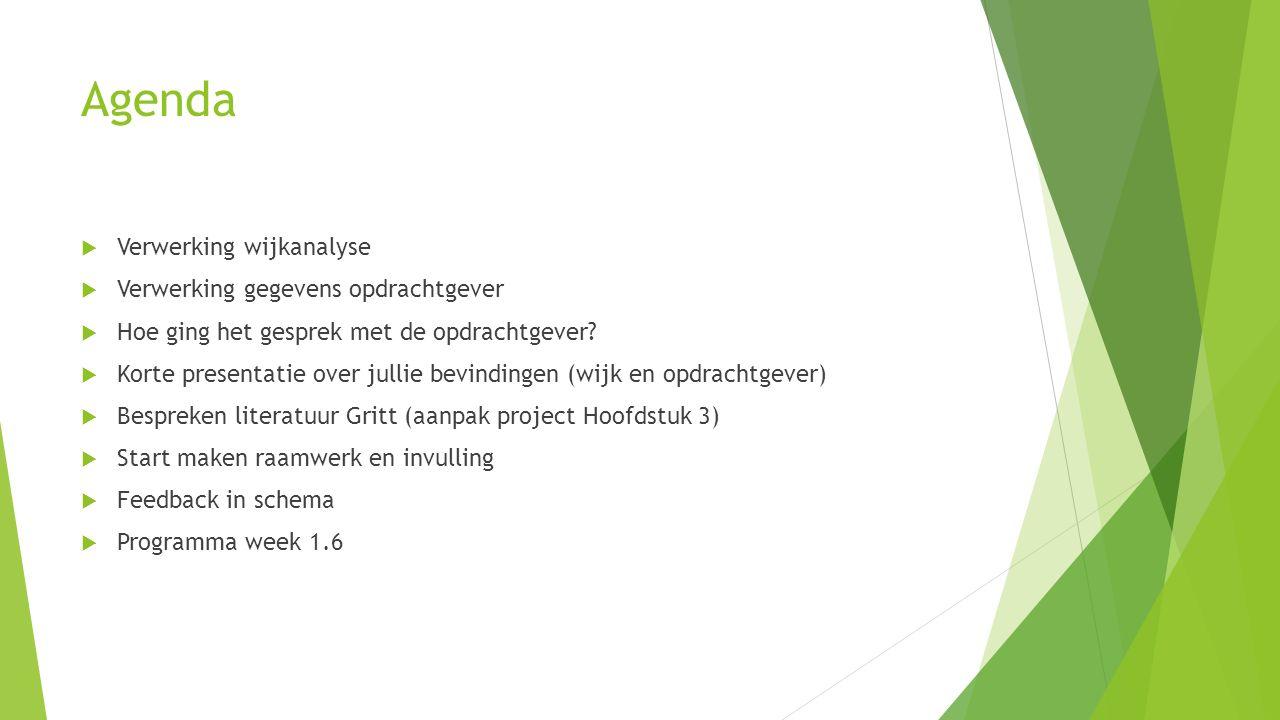 Agenda  Verwerking wijkanalyse  Verwerking gegevens opdrachtgever  Hoe ging het gesprek met de opdrachtgever.