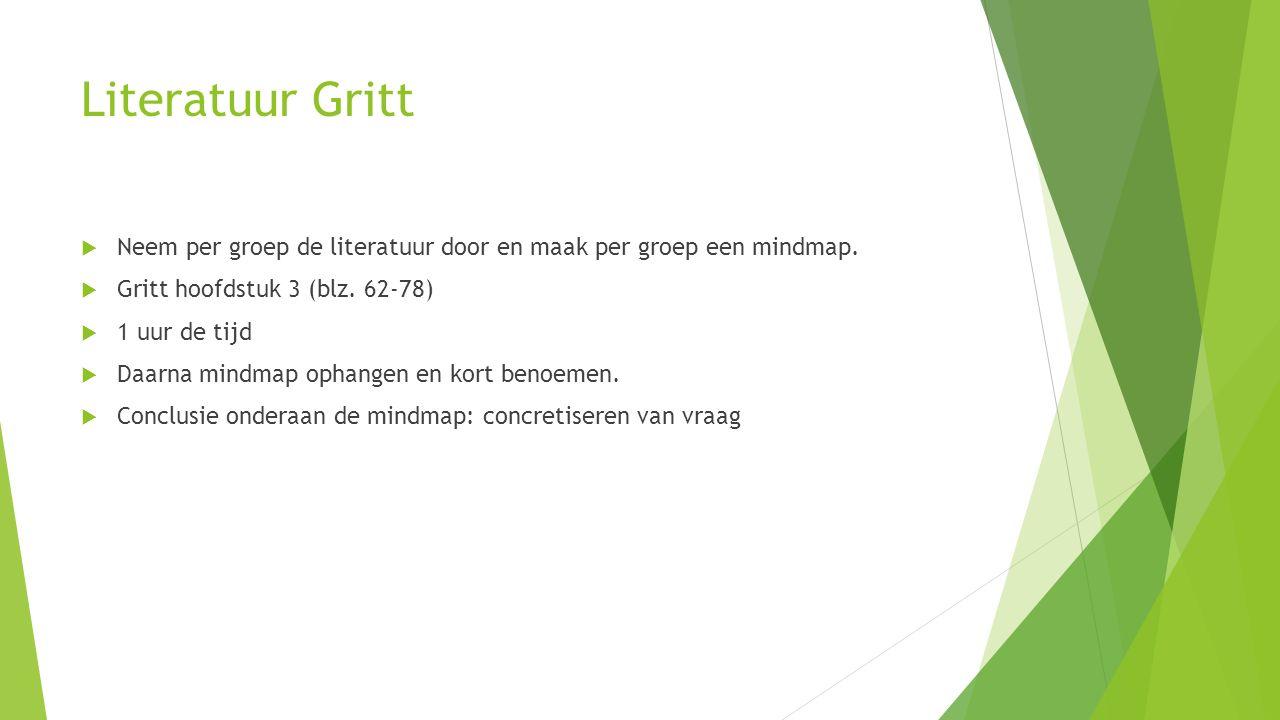 Literatuur Gritt  Neem per groep de literatuur door en maak per groep een mindmap.