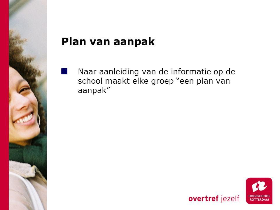 """Plan van aanpak Naar aanleiding van de informatie op de school maakt elke groep """"een plan van aanpak"""""""