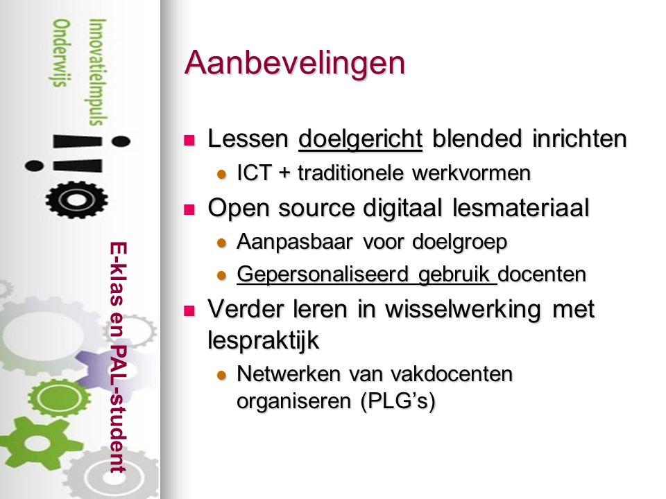 E-klas en PAL-student Meerwaarde ICT-bronnen.