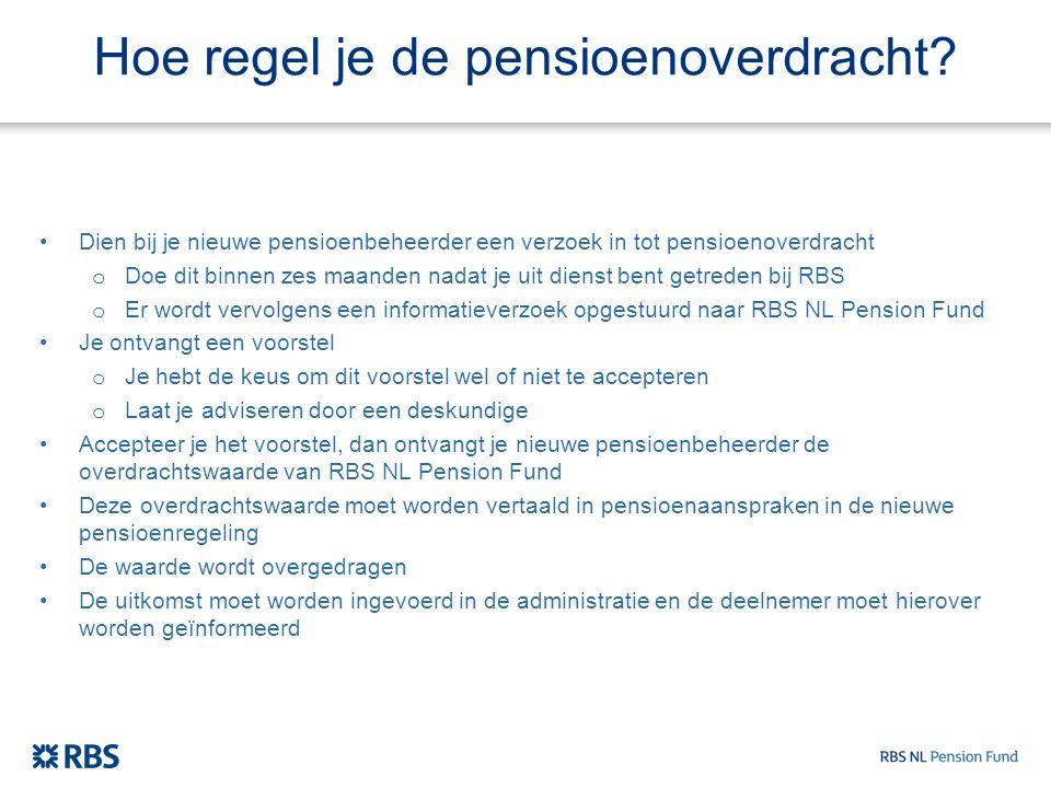 Hoe regel je de pensioenoverdracht? Dien bij je nieuwe pensioenbeheerder een verzoek in tot pensioenoverdracht o Doe dit binnen zes maanden nadat je u