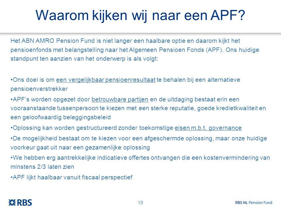 Waarom kijken wij naar een APF? Het ABN AMRO Pension Fund is niet langer een haalbare optie en daarom kijkt het pensioenfonds met belangstelling naar
