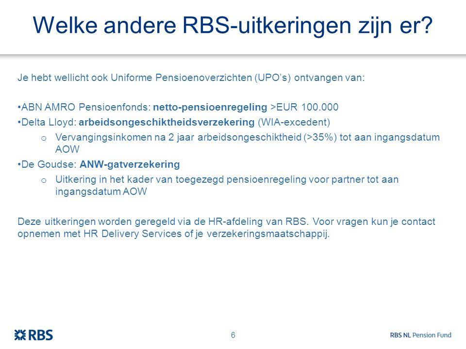 Welke andere RBS-uitkeringen zijn er? Je hebt wellicht ook Uniforme Pensioenoverzichten (UPO's) ontvangen van: ABN AMRO Pensioenfonds: netto-pensioenr