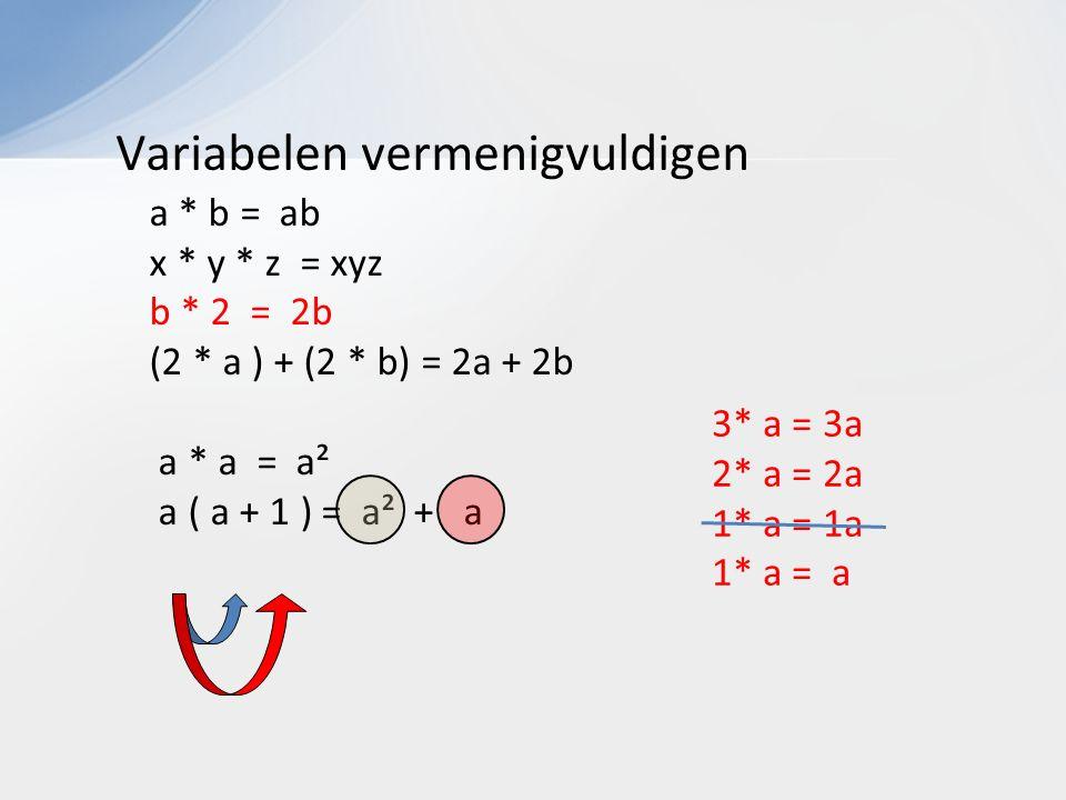 Variabelen vermenigvuldigen a * b = ab x * y * z = xyz b * 2 = 2b (2 * a ) + (2 * b) = 2a + 2b a * a = a² a ( a + 1 ) = a² + a 3* a = 3a 2* a = 2a 1* a = 1a 1* a = a