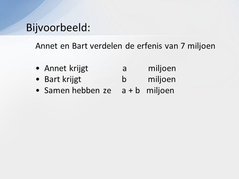Annet en Bart verdelen de erfenis van 7 miljoen Annet krijgt a miljoen Bart krijgt b miljoen Samen hebben ze a + b miljoen Bijvoorbeeld: