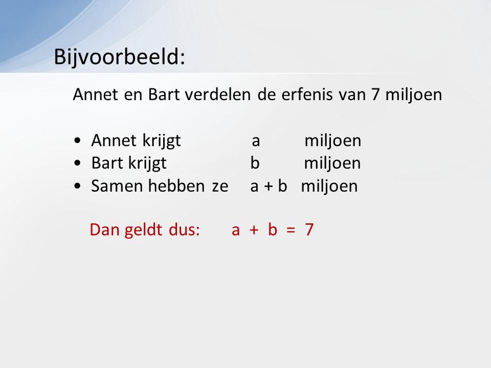 Annet en Bart verdelen de erfenis van 7 miljoen Annet krijgt a miljoen Bart krijgt b miljoen Samen hebben ze a + b miljoen Dan geldt dus: a + b = 7 Bijvoorbeeld: