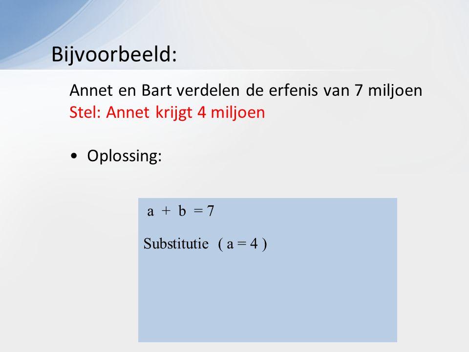 Annet en Bart verdelen de erfenis van 7 miljoen Stel: Annet krijgt 4 miljoen Oplossing: Bijvoorbeeld: a + b = 7 Substitutie ( a = 4 ) 4 + b = 7 + b = 7 - 4