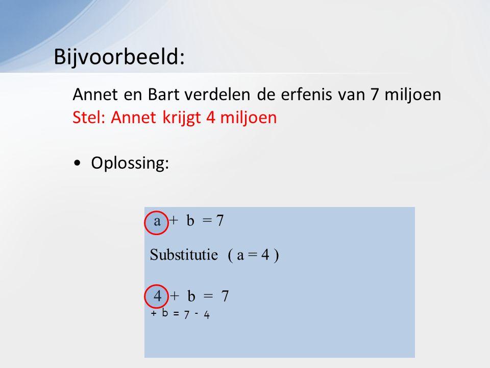 Annet en Bart verdelen de erfenis van 7 miljoen Stel: Annet krijgt 4 miljoen Oplossing: Bijvoorbeeld: a + b = 7 Substitutie ( a = 4 ) 4 + b = 7 + b = 7 - 4 4 + b = 7 + b = 7 - 4