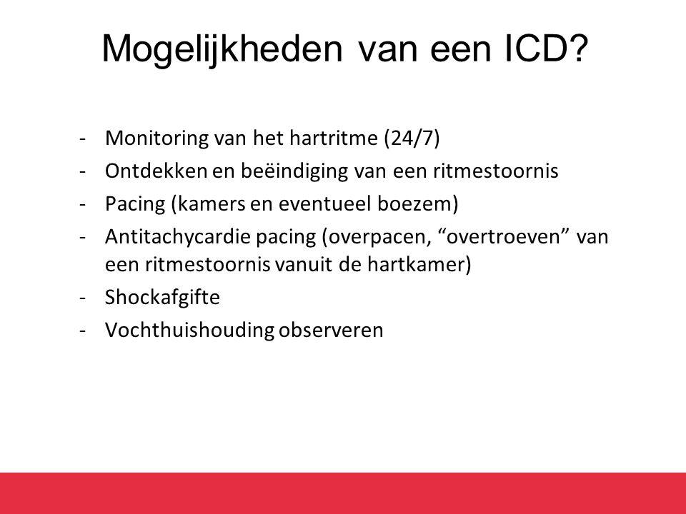 Mogelijkheden van een ICD? -Monitoring van het hartritme (24/7) -Ontdekken en beëindiging van een ritmestoornis -Pacing (kamers en eventueel boezem) -