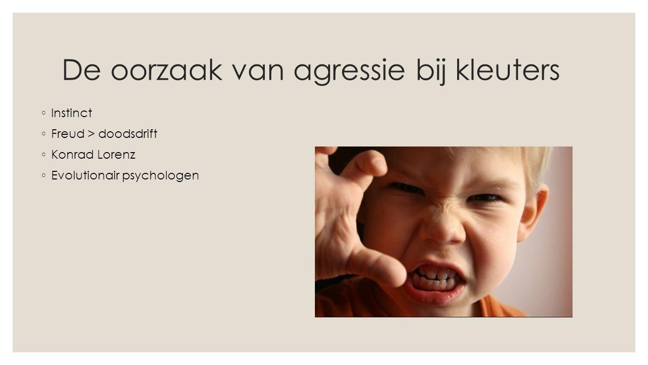 De oorzaak van agressie bij kleuters ◦ Instinct ◦ Freud > doodsdrift ◦ Konrad Lorenz ◦ Evolutionair psychologen