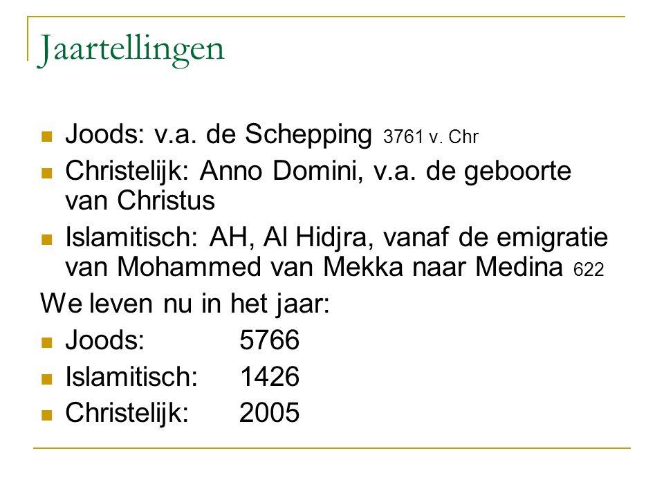 Jaartellingen Joods: v.a. de Schepping 3761 v. Chr Christelijk: Anno Domini, v.a.