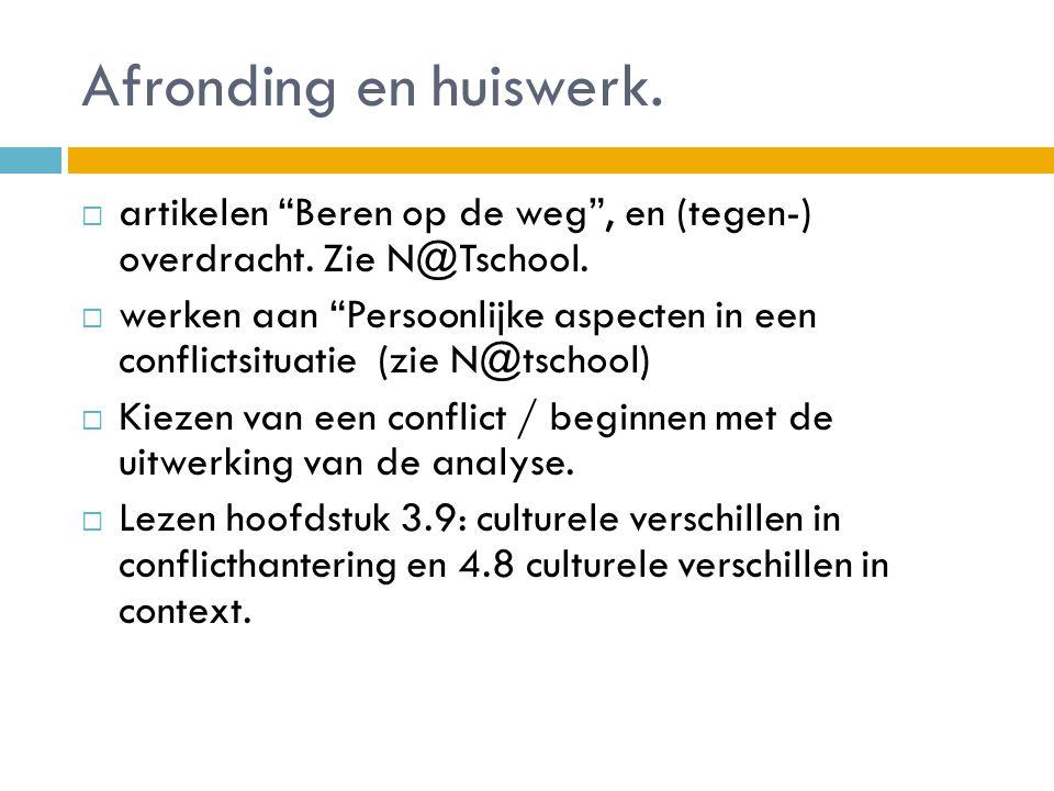 """Afronding en huiswerk.  artikelen """"Beren op de weg"""", en (tegen-) overdracht. Zie N@Tschool.  werken aan """"Persoonlijke aspecten in een conflictsituat"""