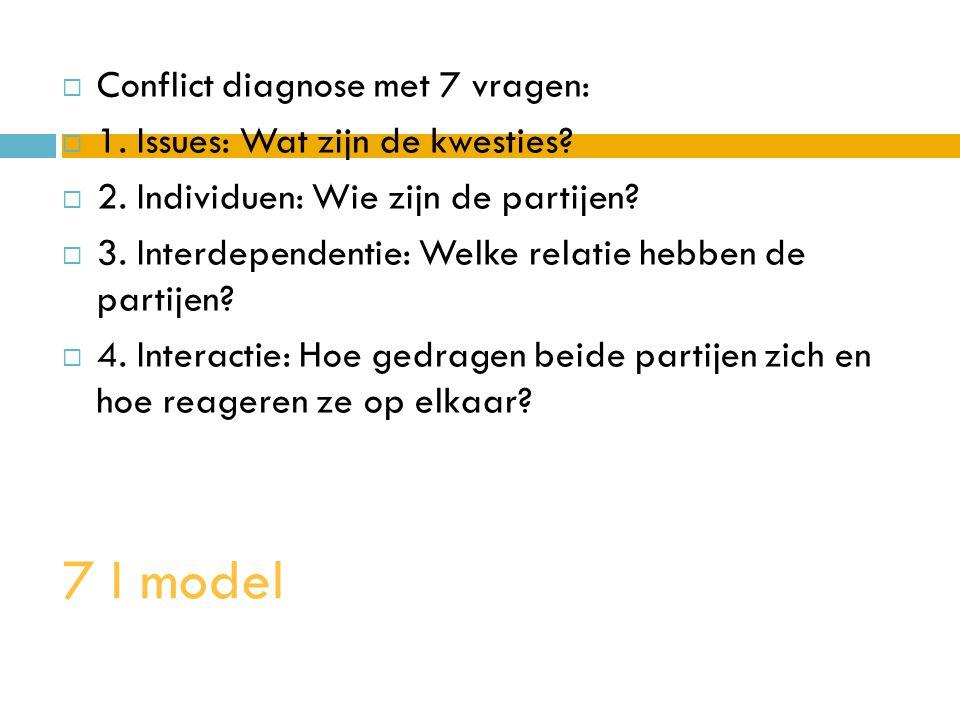 7 I model  Conflict diagnose met 7 vragen:  1. Issues: Wat zijn de kwesties?  2. Individuen: Wie zijn de partijen?  3. Interdependentie: Welke rel