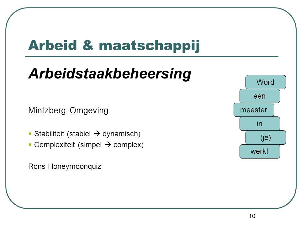 10 Arbeid & maatschappij Arbeidstaakbeheersing Mintzberg: Omgeving  Stabiliteit (stabiel  dynamisch)  Complexiteit (simpel  complex) Rons Honeymoo