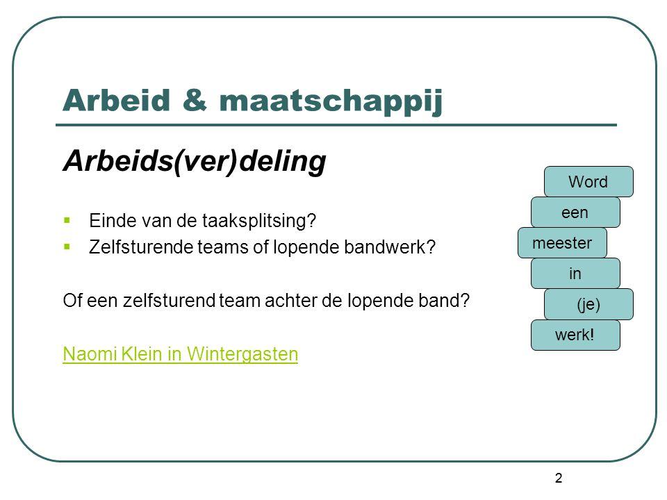 13 Arbeid & maatschappij Arbeidstaakbeheersing Meer info.