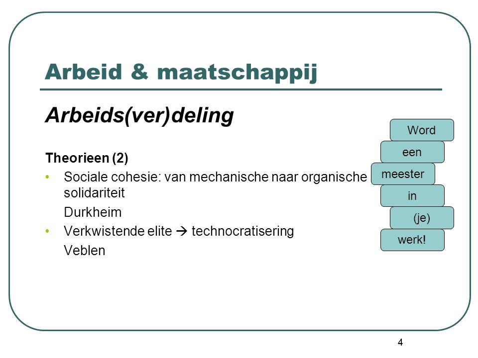 4 Arbeid & maatschappij Arbeids(ver)deling Theorieen (2) Sociale cohesie: van mechanische naar organische solidariteit Durkheim Verkwistende elite  technocratisering Veblen Word een meester in (je) werk.