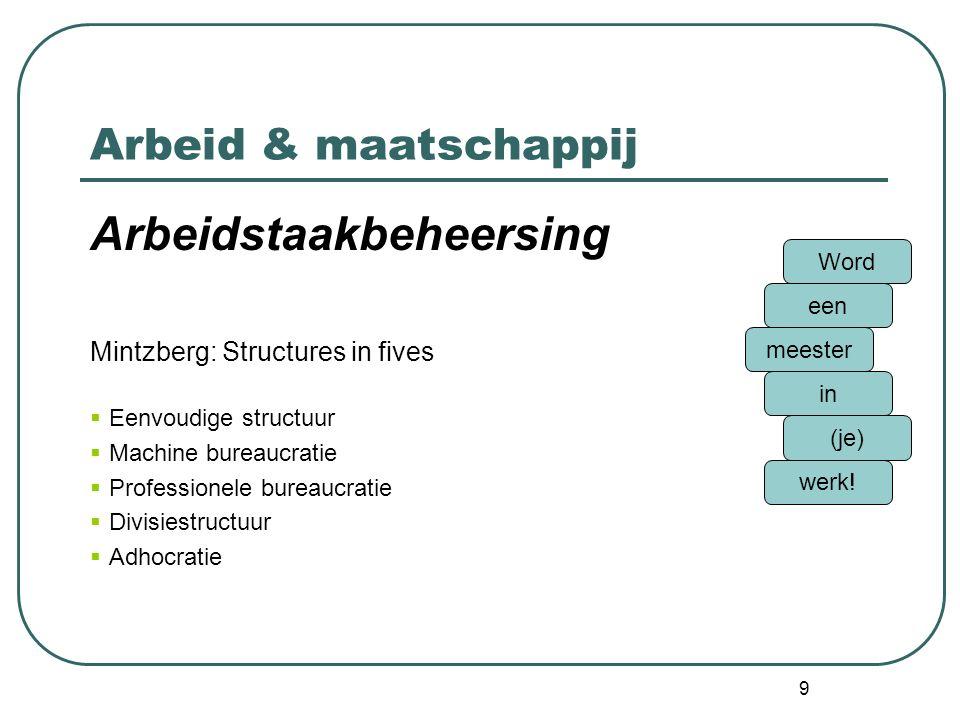 9 Arbeid & maatschappij Arbeidstaakbeheersing Mintzberg: Structures in fives  Eenvoudige structuur  Machine bureaucratie  Professionele bureaucratie  Divisiestructuur  Adhocratie Word een meester in (je) werk!