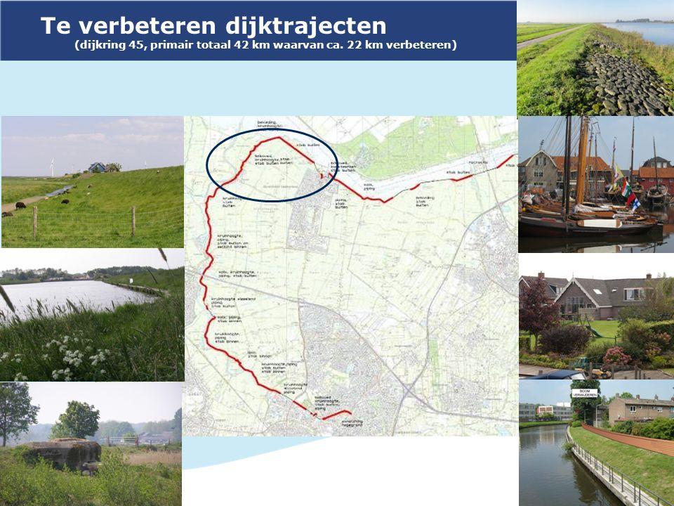 Te verbeteren dijktrajecten (dijkring 45, primair totaal 42 km waarvan ca. 22 km verbeteren)