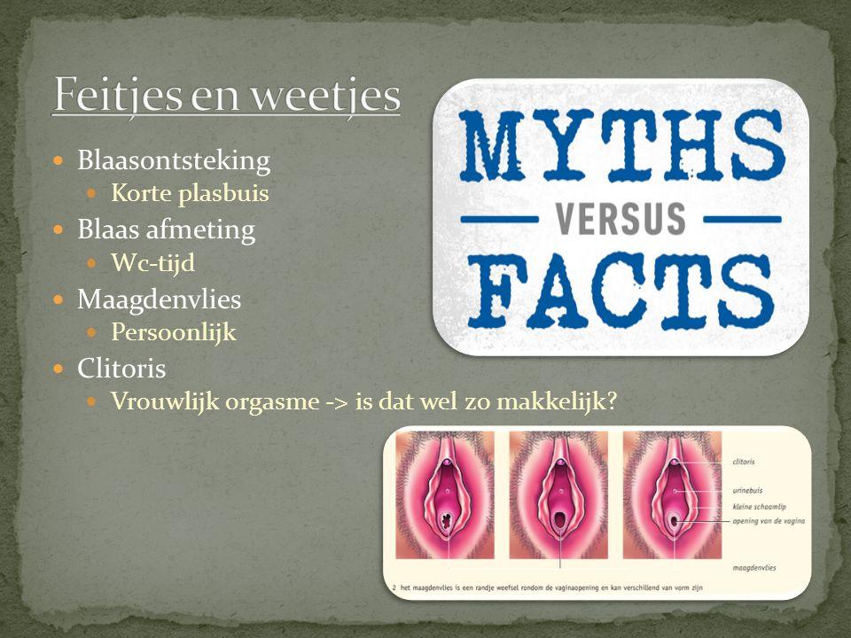Blaasontsteking Korte plasbuis Blaas afmeting Wc-tijd Maagdenvlies Persoonlijk Clitoris Vrouwlijk orgasme -> is dat wel zo makkelijk?