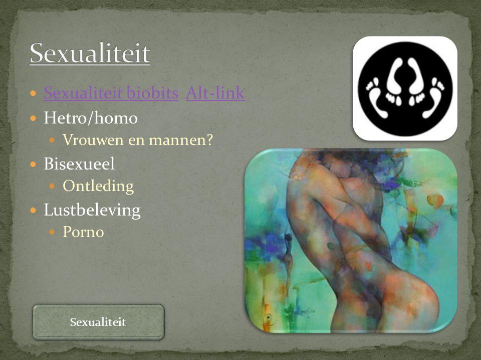 Sexualiteit biobits Alt-link Sexualiteit biobitsAlt-link Hetro/homo Vrouwen en mannen? Bisexueel Ontleding Lustbeleving Porno Sexualiteit