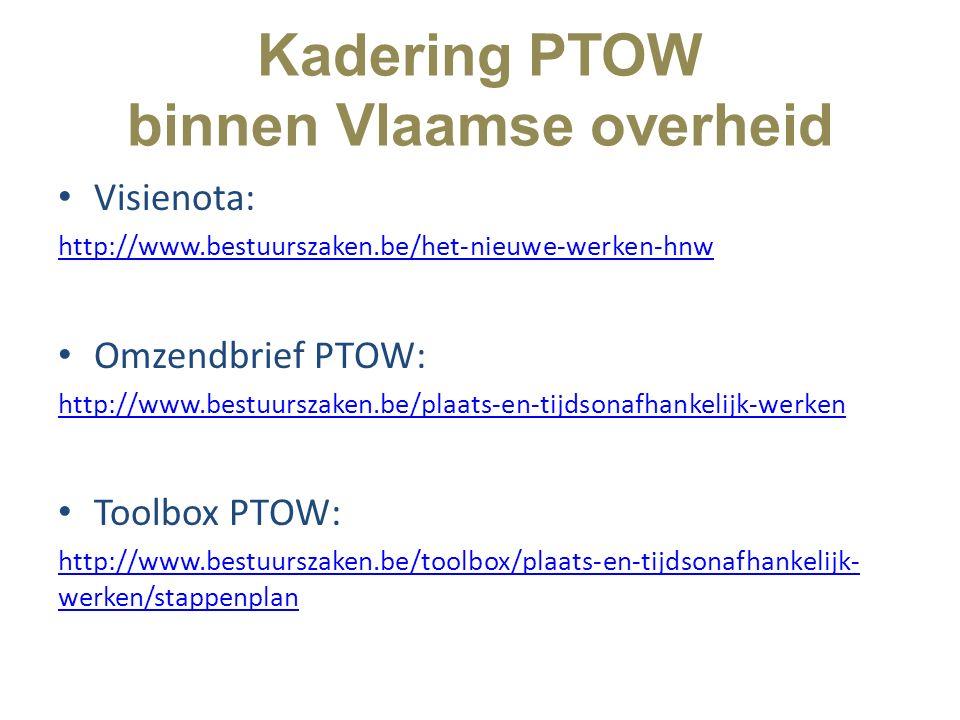 Kadering PTOW binnen Vlaamse overheid Visienota: http://www.bestuurszaken.be/het-nieuwe-werken-hnw Omzendbrief PTOW: http://www.bestuurszaken.be/plaat
