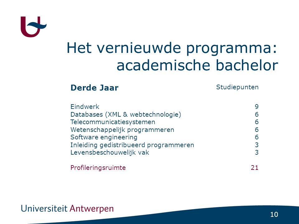 10 Het vernieuwde programma: academische bachelor Studiepunten Derde Jaar 9 6 3 21 Eindwerk Databases (XML & webtechnologie) Telecommunicatiesystemen