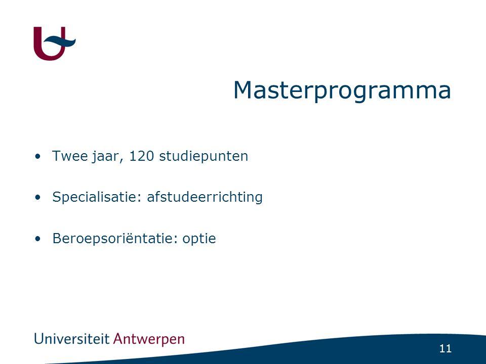 11 Masterprogramma Twee jaar, 120 studiepunten Specialisatie: afstudeerrichting Beroepsoriëntatie: optie