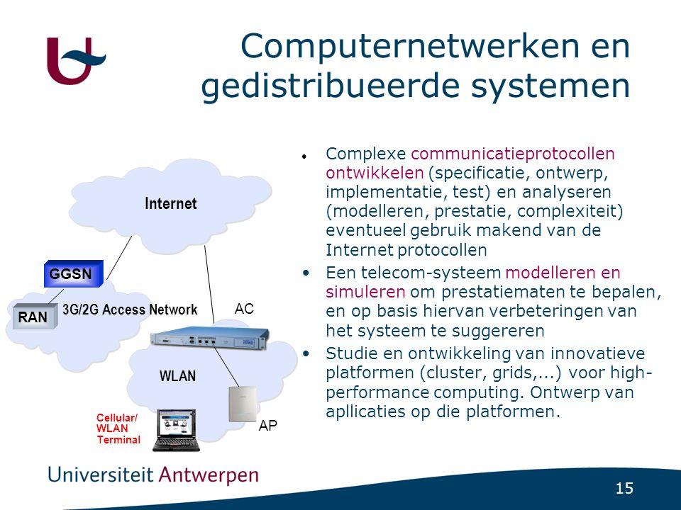15 Computernetwerken en gedistribueerde systemen Complexe communicatieprotocollen ontwikkelen (specificatie, ontwerp, implementatie, test) en analyser