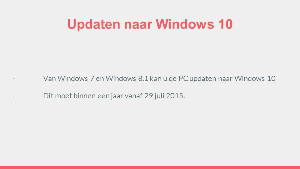 Updaten naar Windows 10 -Van Windows 7 en Windows 8.1 kan u de PC updaten naar Windows 10 -Dit moet binnen een jaar vanaf 29 juli 2015.