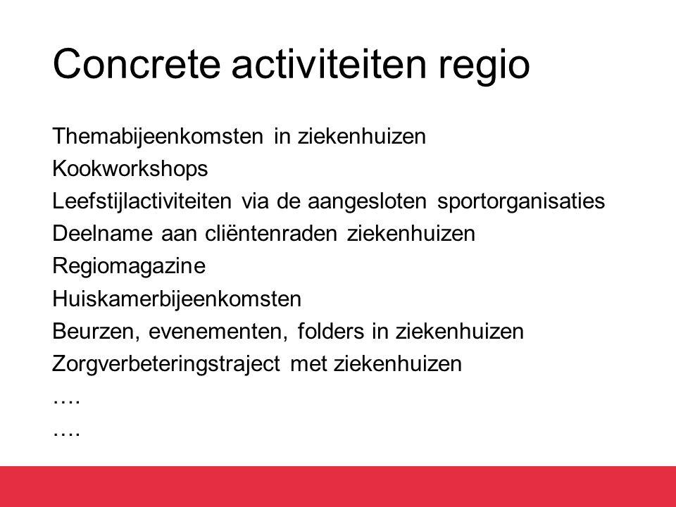 Concrete activiteiten regio Themabijeenkomsten in ziekenhuizen Kookworkshops Leefstijlactiviteiten via de aangesloten sportorganisaties Deelname aan c