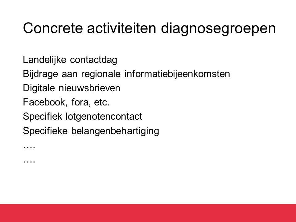 Concrete activiteiten diagnosegroepen Landelijke contactdag Bijdrage aan regionale informatiebijeenkomsten Digitale nieuwsbrieven Facebook, fora, etc.