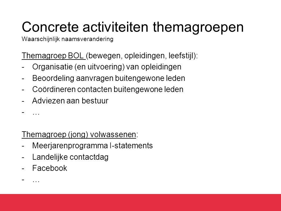 Concrete activiteiten themagroepen Waarschijnlijk naamsverandering Themagroep BOL (bewegen, opleidingen, leefstijl): -Organisatie (en uitvoering) van