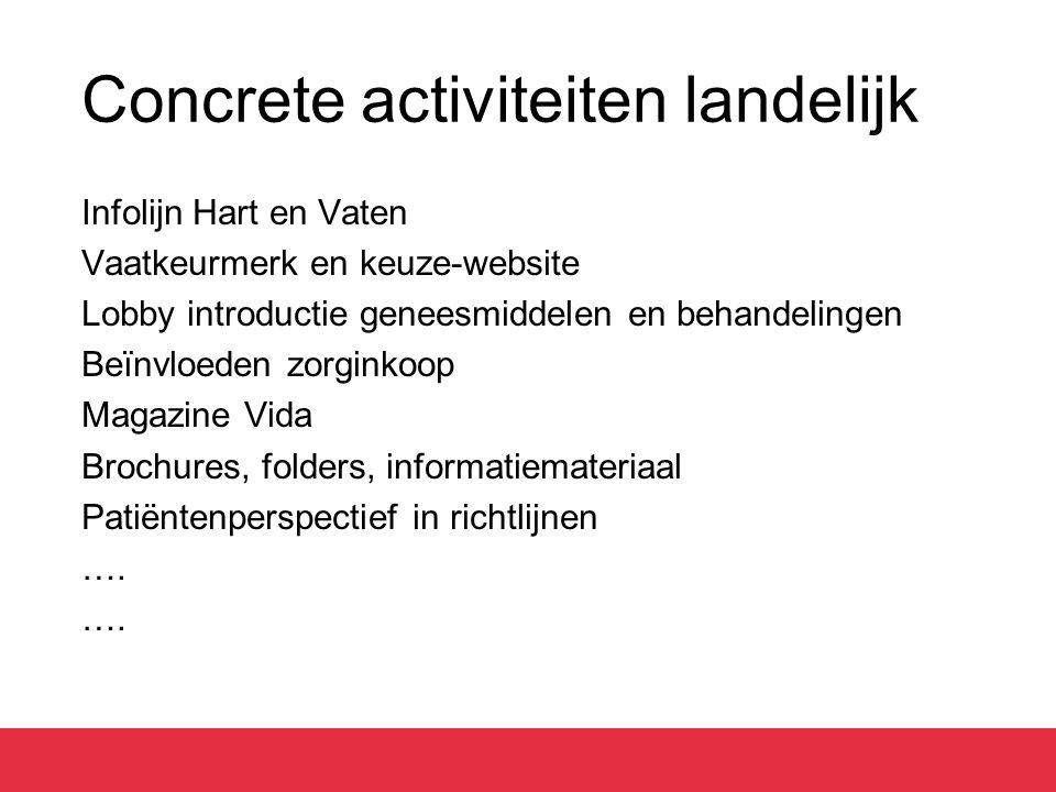Concrete activiteiten landelijk Infolijn Hart en Vaten Vaatkeurmerk en keuze-website Lobby introductie geneesmiddelen en behandelingen Beïnvloeden zor