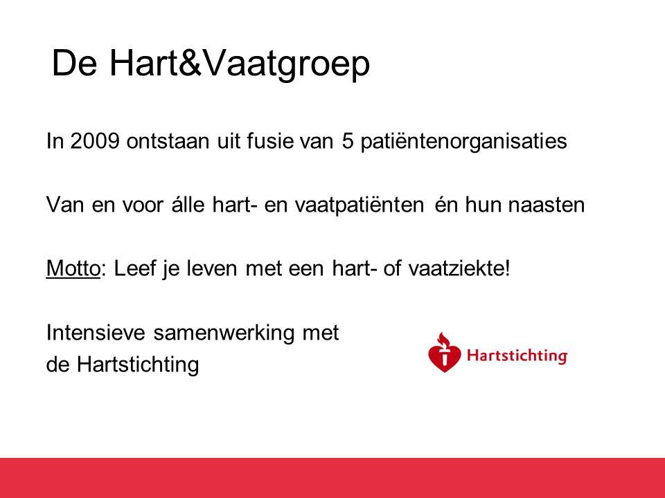 De Hart&Vaatgroep In 2009 ontstaan uit fusie van 5 patiëntenorganisaties Van en voor álle hart- en vaatpatiënten én hun naasten Motto: Leef je leven met een hart- of vaatziekte.
