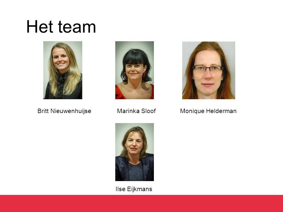 Het team Britt Nieuwenhuijse Marinka Sloof Monique Helderman Ilse Eijkmans