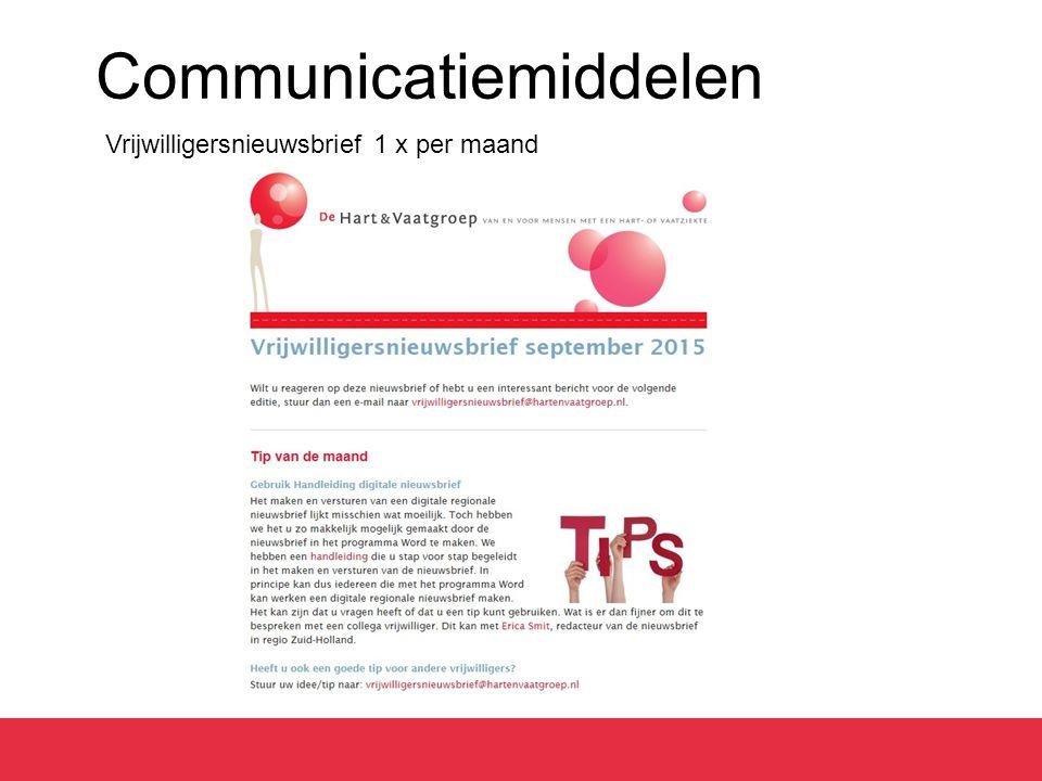 Communicatiemiddelen Vrijwilligersnieuwsbrief 1 x per maand