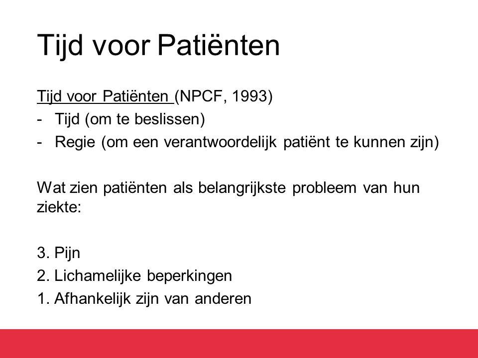 Tijd voor Patiënten Tijd voor Patiënten (NPCF, 1993) -Tijd (om te beslissen) -Regie (om een verantwoordelijk patiënt te kunnen zijn) Wat zien patiënten als belangrijkste probleem van hun ziekte: 3.