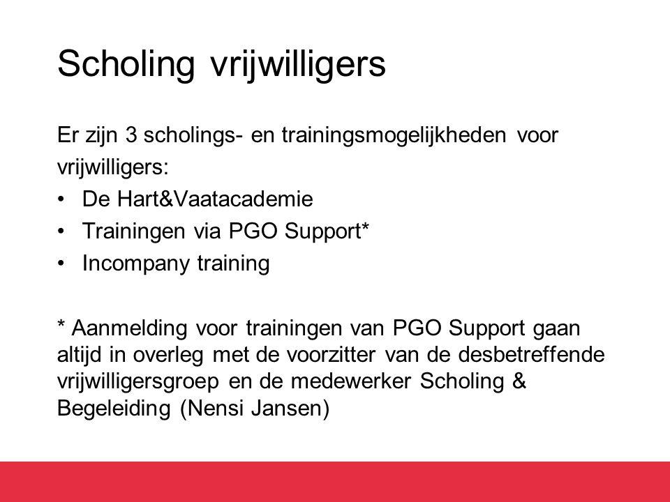 Scholing vrijwilligers Er zijn 3 scholings- en trainingsmogelijkheden voor vrijwilligers: De Hart&Vaatacademie Trainingen via PGO Support* Incompany t