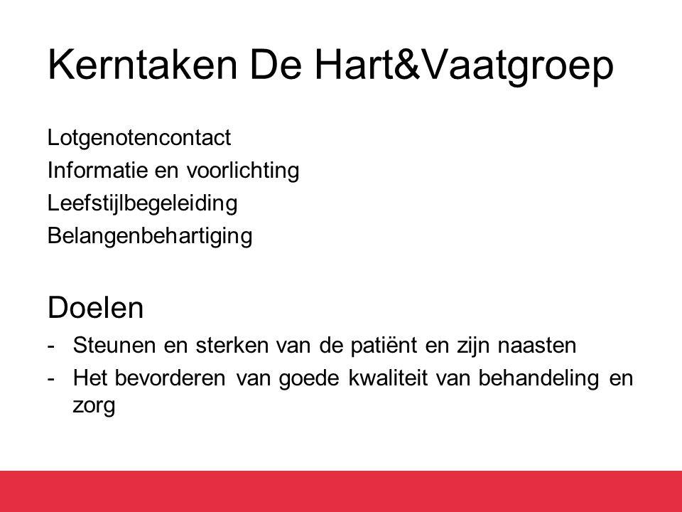Kerntaken De Hart&Vaatgroep Lotgenotencontact Informatie en voorlichting Leefstijlbegeleiding Belangenbehartiging Doelen -Steunen en sterken van de patiënt en zijn naasten -Het bevorderen van goede kwaliteit van behandeling en zorg