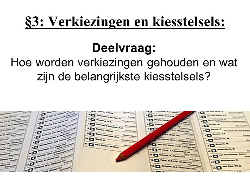 §3: Verkiezingen en kiesstelsels: Deelvraag: Hoe worden verkiezingen gehouden en wat zijn de belangrijkste kiesstelsels?