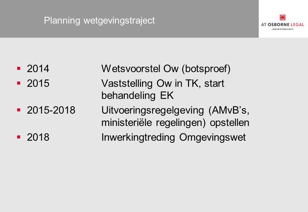 Planning wetgevingstraject  2014Wetsvoorstel Ow (botsproef)  2015Vaststelling Ow in TK, start behandeling EK  2015-2018Uitvoeringsregelgeving (AMvB