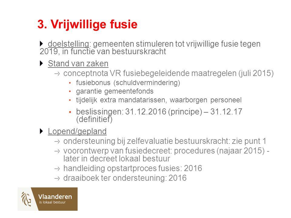 3. Vrijwillige fusie doelstelling: gemeenten stimuleren tot vrijwillige fusie tegen 2019, in functie van bestuurskracht Stand van zaken conceptnota VR