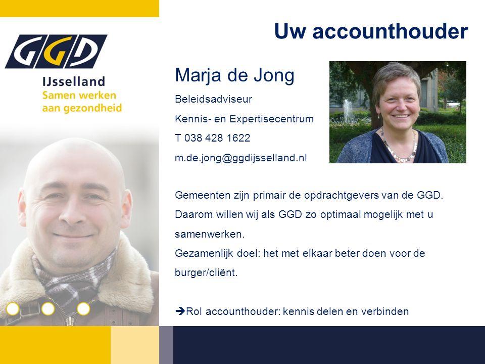Uw accounthouder Marja de Jong Beleidsadviseur Kennis- en Expertisecentrum T 038 428 1622 m.de.jong@ggdijsselland.nl Gemeenten zijn primair de opdrachtgevers van de GGD.
