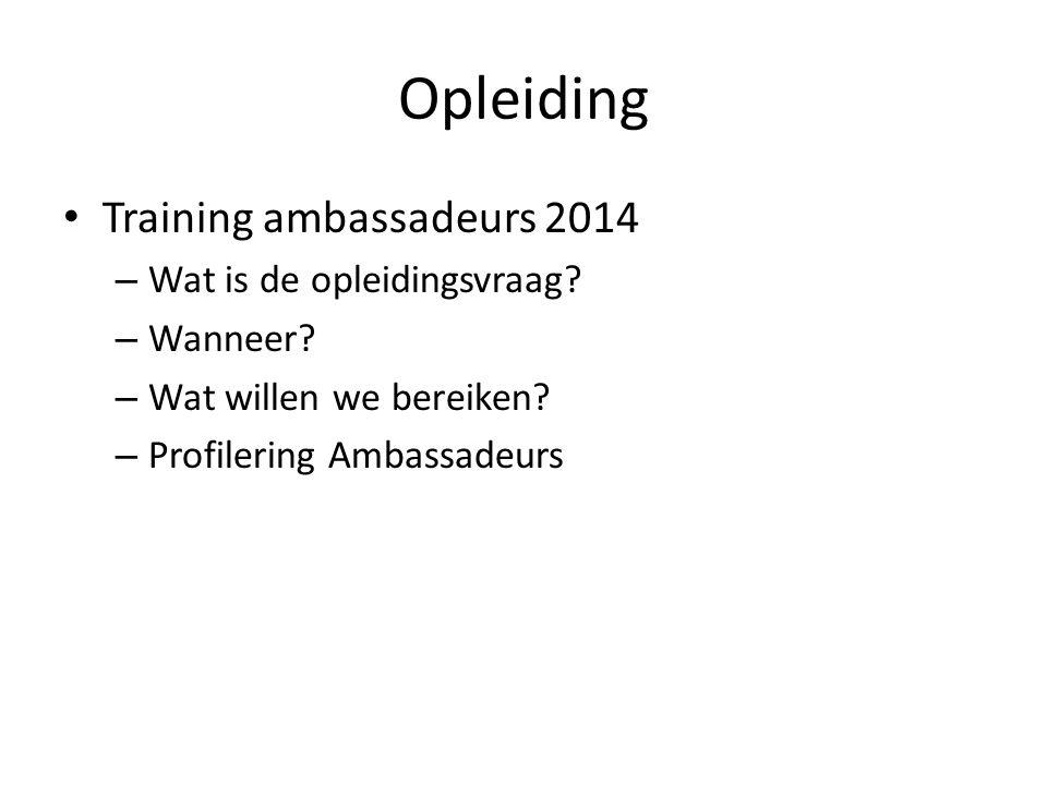 Opleiding Training ambassadeurs 2014 – Wat is de opleidingsvraag.
