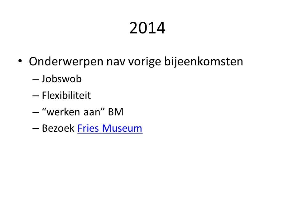 2014 Onderwerpen nav vorige bijeenkomsten – Jobswob – Flexibiliteit – werken aan BM – Bezoek Fries MuseumFries Museum