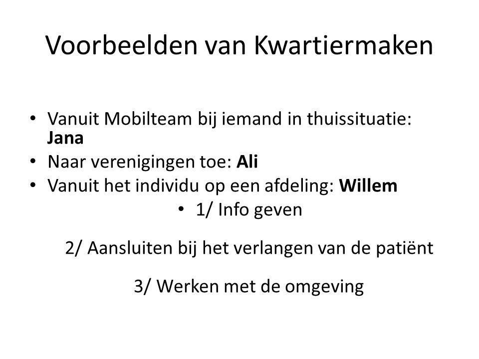 Voorbeelden van Kwartiermaken Vanuit Mobilteam bij iemand in thuissituatie: Jana Naar verenigingen toe: Ali Vanuit het individu op een afdeling: Wille