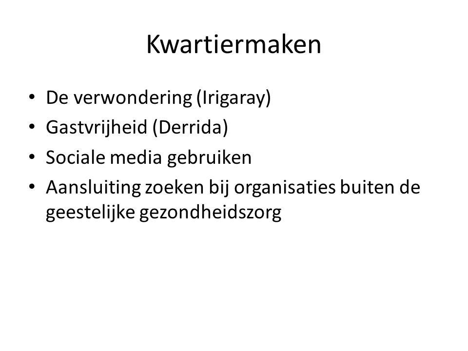 Kwartiermaken De verwondering (Irigaray) Gastvrijheid (Derrida) Sociale media gebruiken Aansluiting zoeken bij organisaties buiten de geestelijke gezo