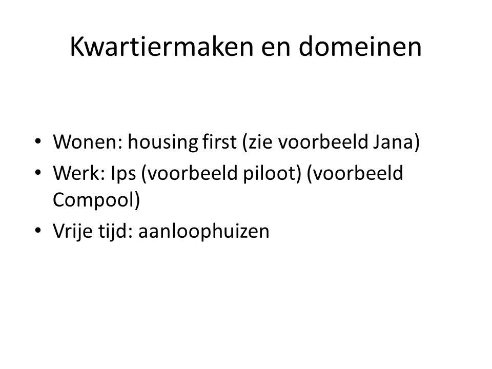 Kwartiermaken en domeinen Wonen: housing first (zie voorbeeld Jana) Werk: Ips (voorbeeld piloot) (voorbeeld Compool) Vrije tijd: aanloophuizen