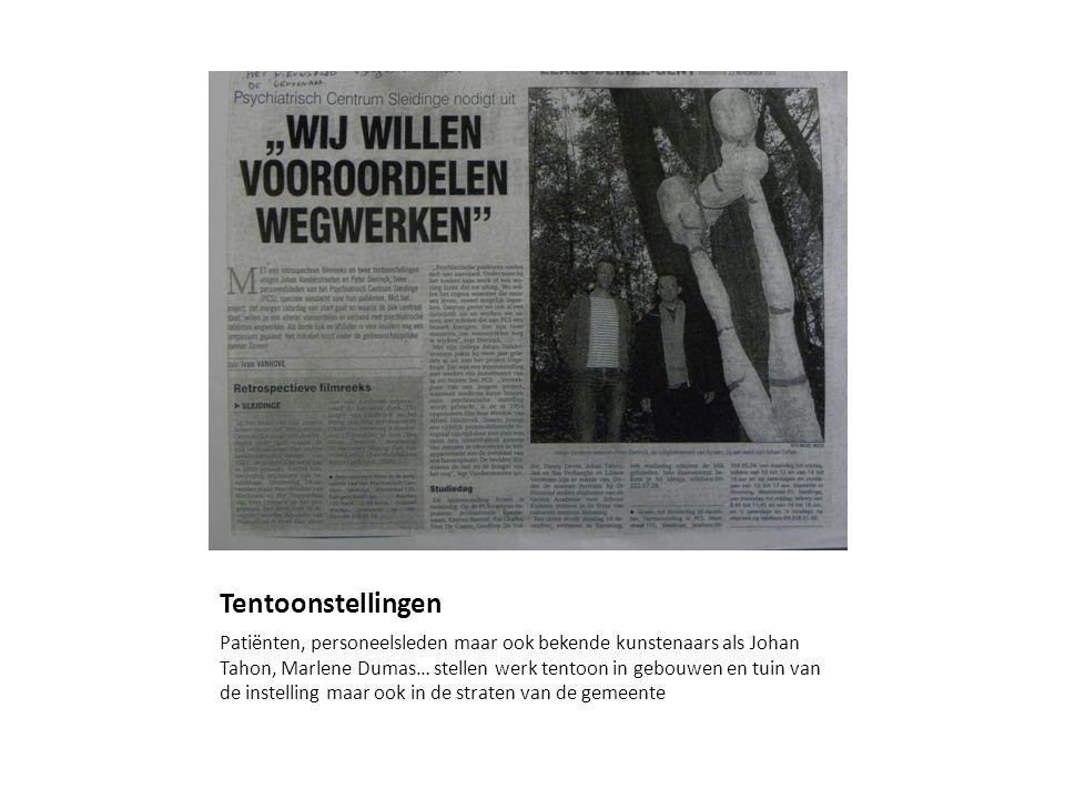 Tentoonstellingen Patiënten, personeelsleden maar ook bekende kunstenaars als Johan Tahon, Marlene Dumas… stellen werk tentoon in gebouwen en tuin van