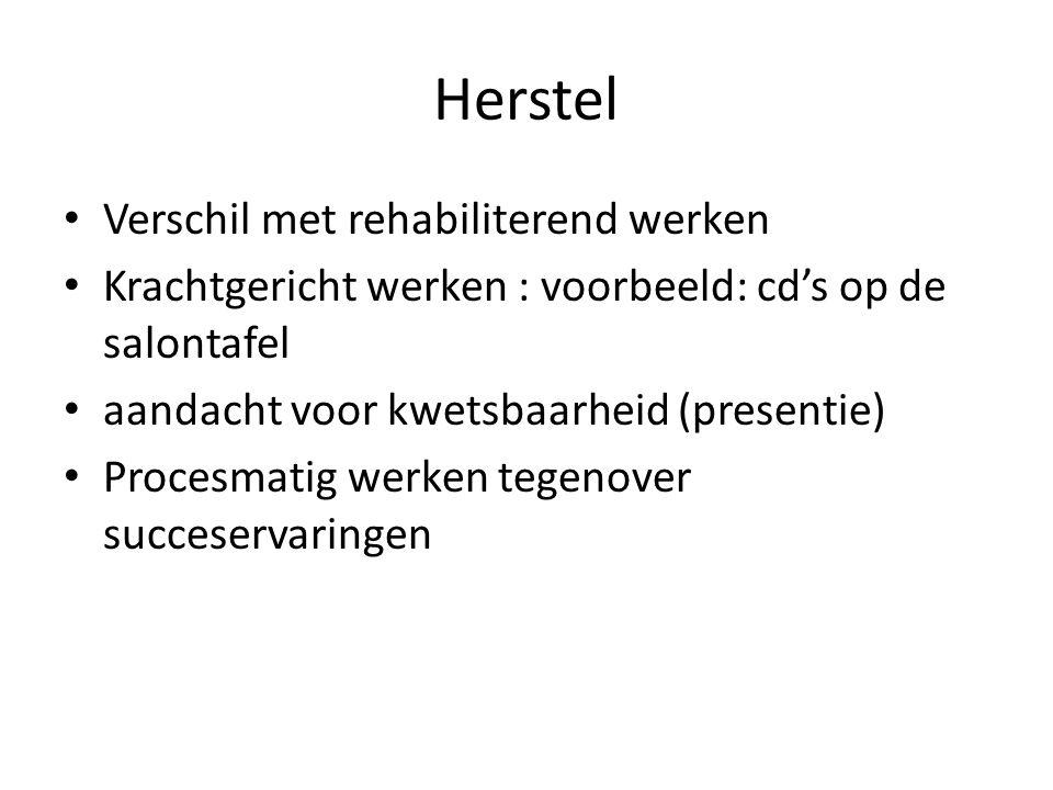 Herstel Verschil met rehabiliterend werken Krachtgericht werken : voorbeeld: cd's op de salontafel aandacht voor kwetsbaarheid (presentie) Procesmatig